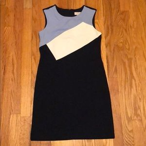 Loft fitted sleeveless sheath dress in navy